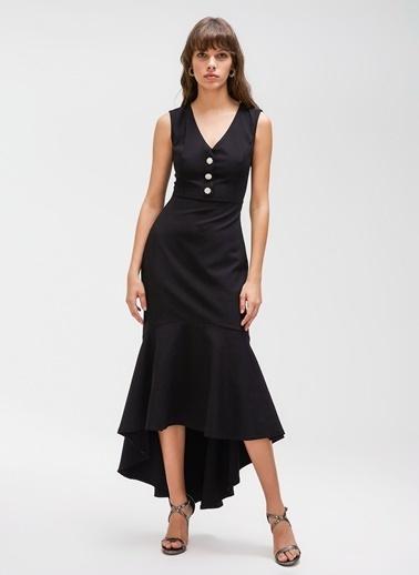 People By Fabrika Taşlı Düğmeli Volanlı Elbise Siyah